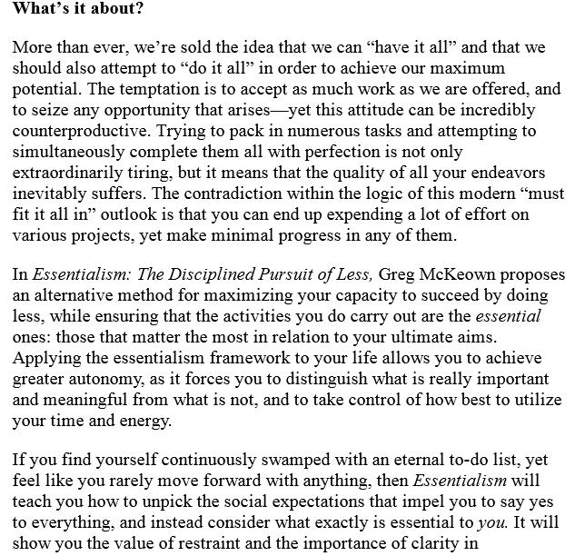 Essentialism by Greg McKeown ePub
