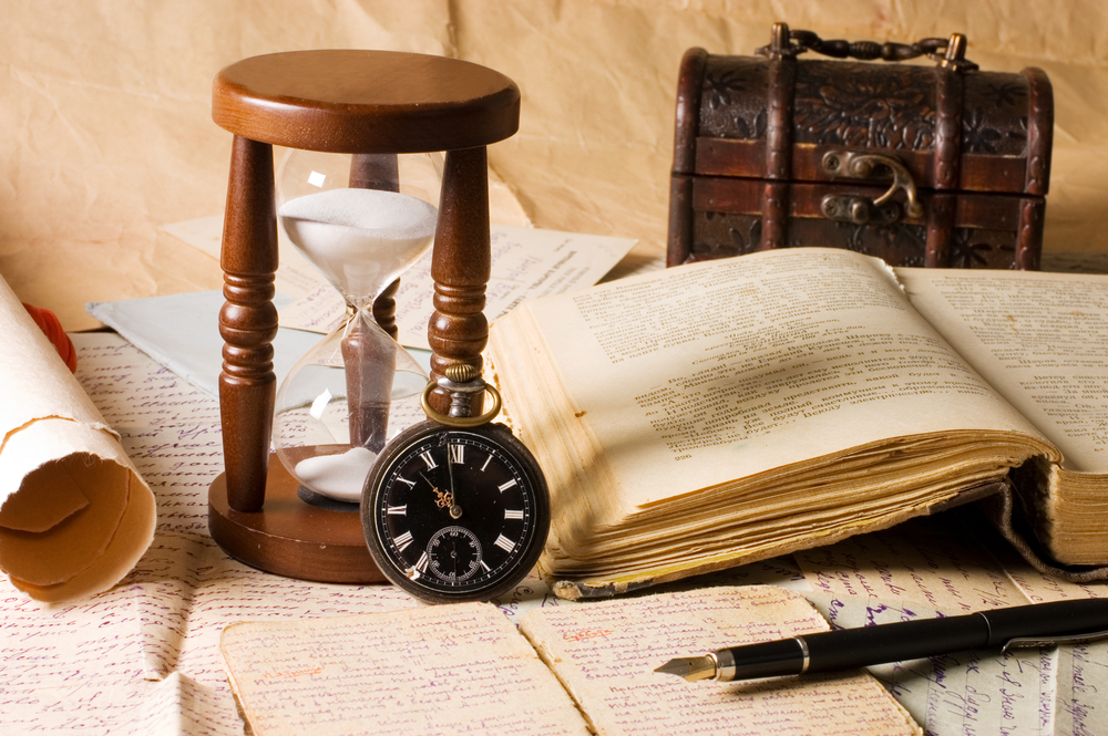 hourglass and the book - vintage